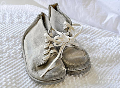 Photograph - Old Vintage White Baby Shoes by Valerie Garner