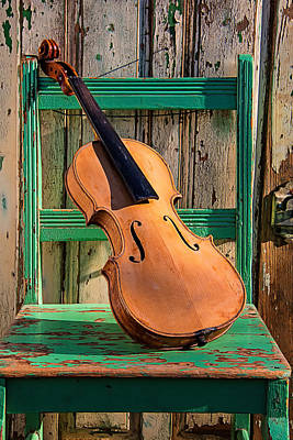 Beaten Up Photograph - Old Violin On Green Chair by Garry Gay