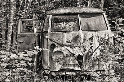 Photograph - Old Volkswagen Van Black And White by Peggy Collins