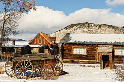 Photograph - Old Wagon And Ghost Town Buildings by Sue Smith