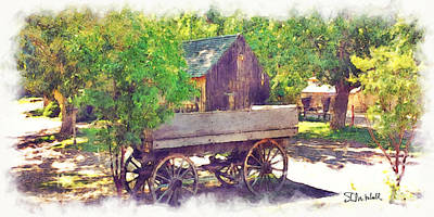 Painting - Old Wagon At Wheeler Farm by Stephen Mitchell