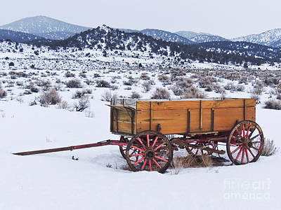Old Wagon In Snow Art Print