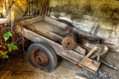 Old Wagon In The Barn Art Print