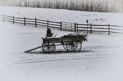 Old Wagon In The Snow - Chester County Pa Print by Bill Cannon