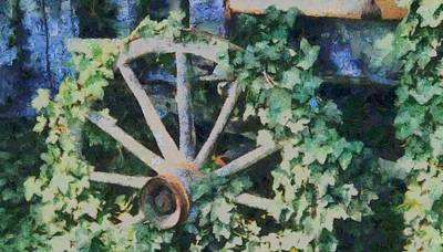 Old Wooden Wagon Painting - Old Wagon Wheel by Dan Sproul