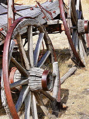 Old Wagon Wheels From Montana Art Print by Jennie Marie Schell