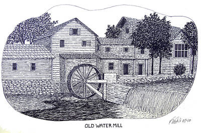 Drawing - Old Water Mill by Frederic Kohli