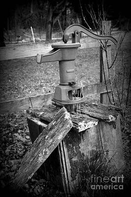 Old Water Pump Bw Art Print