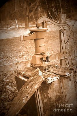 Old Water Pump Sepia Art Print