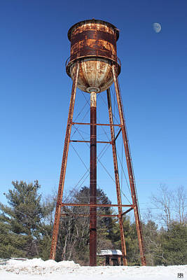 Photograph - Old Water Tower And Moon by John Meader
