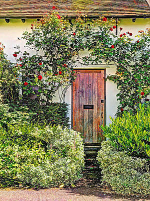 Old Weathered Cottage Door Print by Gill Billington