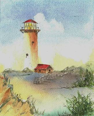 Small Lonely Painting - Old West Coast Lighthouse by David Patrick