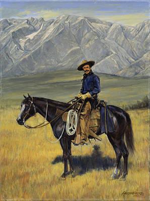 Old West Cowboy On Black Horse Art Print by Don  Langeneckert