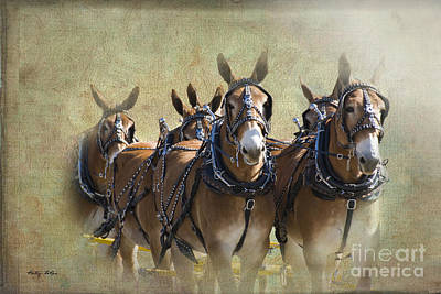 Old West Mule Train Art Print by Betty LaRue