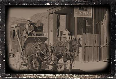 Old West Stagecoach Art Print by David Rizzo