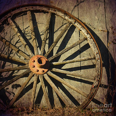 Old West Wagon Wheel Print by Betty LaRue