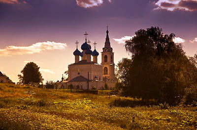 Photograph - Old White Church. Beautiful Evening At Russian Countryside by Jenny Rainbow