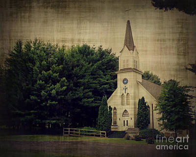 Old Country Roads Photograph - Old White Church by Perry Webster