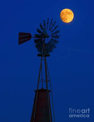 Old Mill Scenes Photograph - Old Wind Mill And Moon by Nick Zelinsky