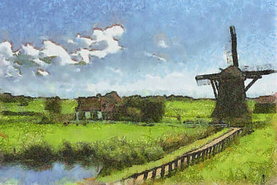 Pasture Digital Art - Old Windmill by Ayse Deniz
