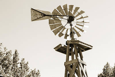 Photograph - Old Windmill In Antique Sepia 3009.01 by M K Miller
