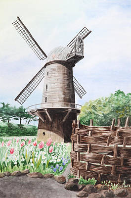 Painting - Old Windmill by Masha Batkova