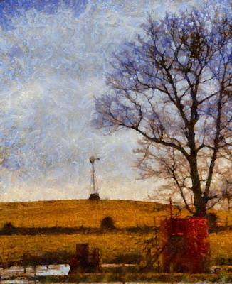 Amish Farms Mixed Media - Old Windmill On The Farm by Dan Sproul