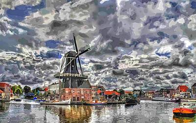 Port Town Digital Art - Old Windmill On The Shore by Maciek Froncisz