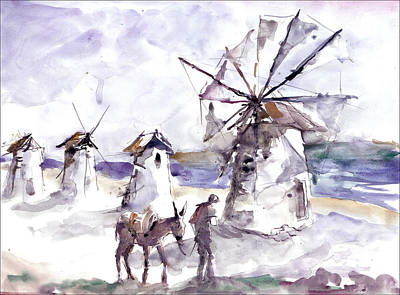 Art Print featuring the painting Old Windmills At Bodrum by Faruk Koksal