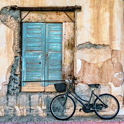 Old Door Wall Art - Photograph - Old Window And Bicycle by George Digalakis
