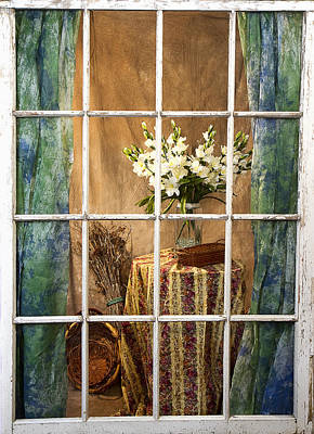 Photograph - Old Window Pane View Inside by Trudy Wilkerson