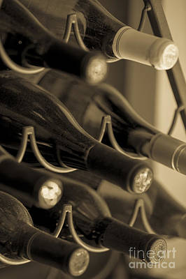 Cellar Photograph - Old Wine Bottles by Diane Diederich