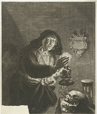 Hourglass Drawing - Old Woman By Candlelight, Albert Haelwegh by Albert Haelwegh And Anonymous And Joachim Von Sandrart