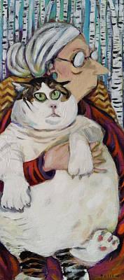 Old Woman Fat Cat Art Print