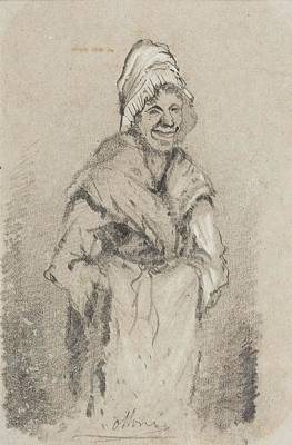 Monet Photograph - Old Woman From Normandy Full Face Pencil On Paper by Claude Monet
