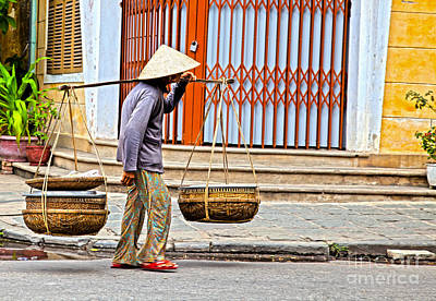Old Woman In Hoi An Vietnam Art Print by Fototrav Print