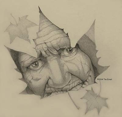 Drawing - Old Woman Leaf  by Tim Ernst