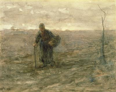 Bleak Drawing - Old Woman On The Heath by Jozef Israels