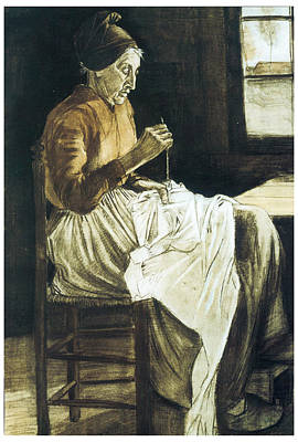 Old Woman Sewing Art Print by Vincent van Gogh