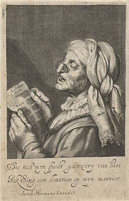 Old Woman Sings, Cornelis Van Dalen I, Gerard Van Honthorst Art Print by Cornelis Van Dalen (i) And Gerard Van Honthorst And I. Houwens