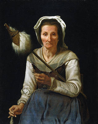 Old Woman Spinning, 1646-48 Art Print