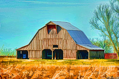 Photograph - Old Wood Barn  Digital Paint by Debbie Portwood