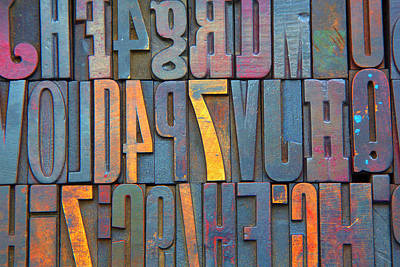 Photograph - Old Wood Printing Letters by Grant Faint