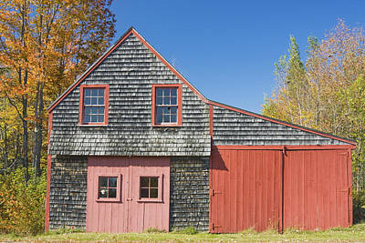 Old Maine Barns Photograph - Old Wood Shingle Shed by Keith Webber Jr