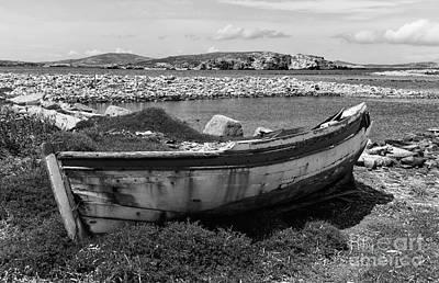 Old Wooden Boat On Delos Mono Art Print by John Rizzuto