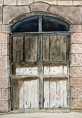 Watercolor Painting - Old Wooden Door. by Shlomo Zangilevitch