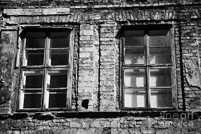 Old Jewish Area Photograph - Old Wooden Double Layer Glazing In Old Red Brick Building With Plaster Facade Removed For Renovation Kazimierz Krakow by Joe Fox