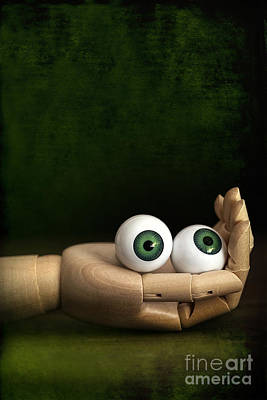 Photograph - Old Wooden Hand Holding Eyeballs by Sandra Cunningham