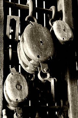 Rural Landscape Photograph - Old Wooden Pulleys by Heather Allen