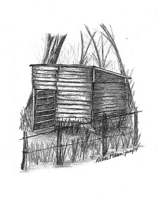 Old Shed Drawing - Old Wooden Shed by Diane Palmer